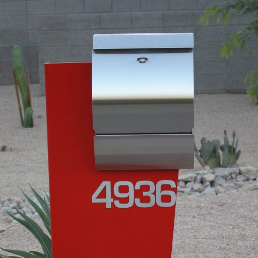 Hansen Unit- Modern Curbside Mailbox Unit- Stainless Steel-Front View- Locking Mailbox