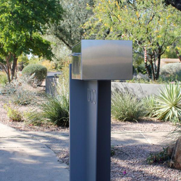 Tall Bowman unit- modern curbside mailbox- gray side view