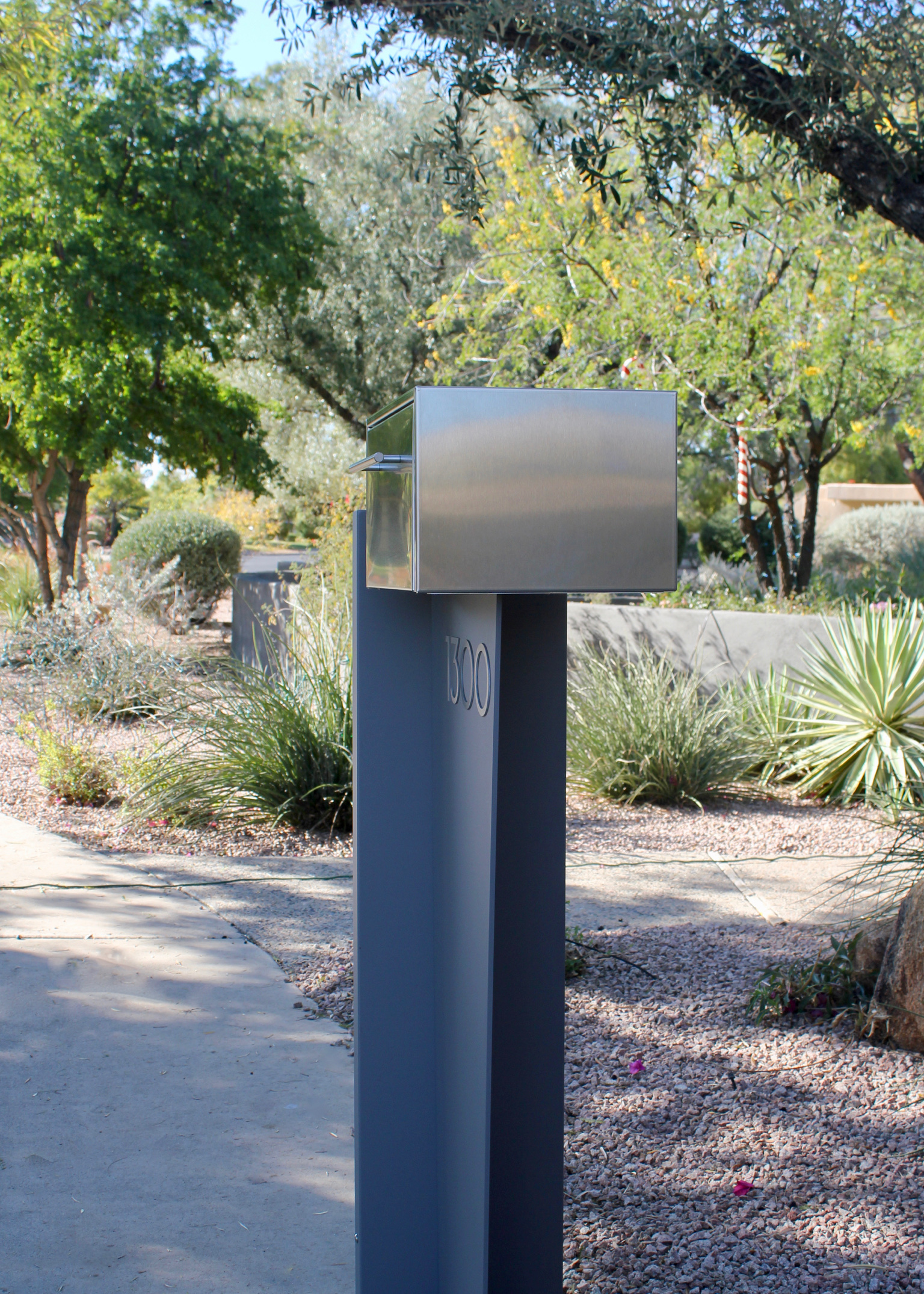 Tall Bowman unit- modern curbside mailbox- gray side view