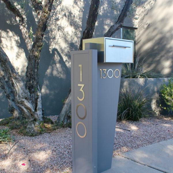 Tall Bowman unit- modern curbside mailbox- gray front view