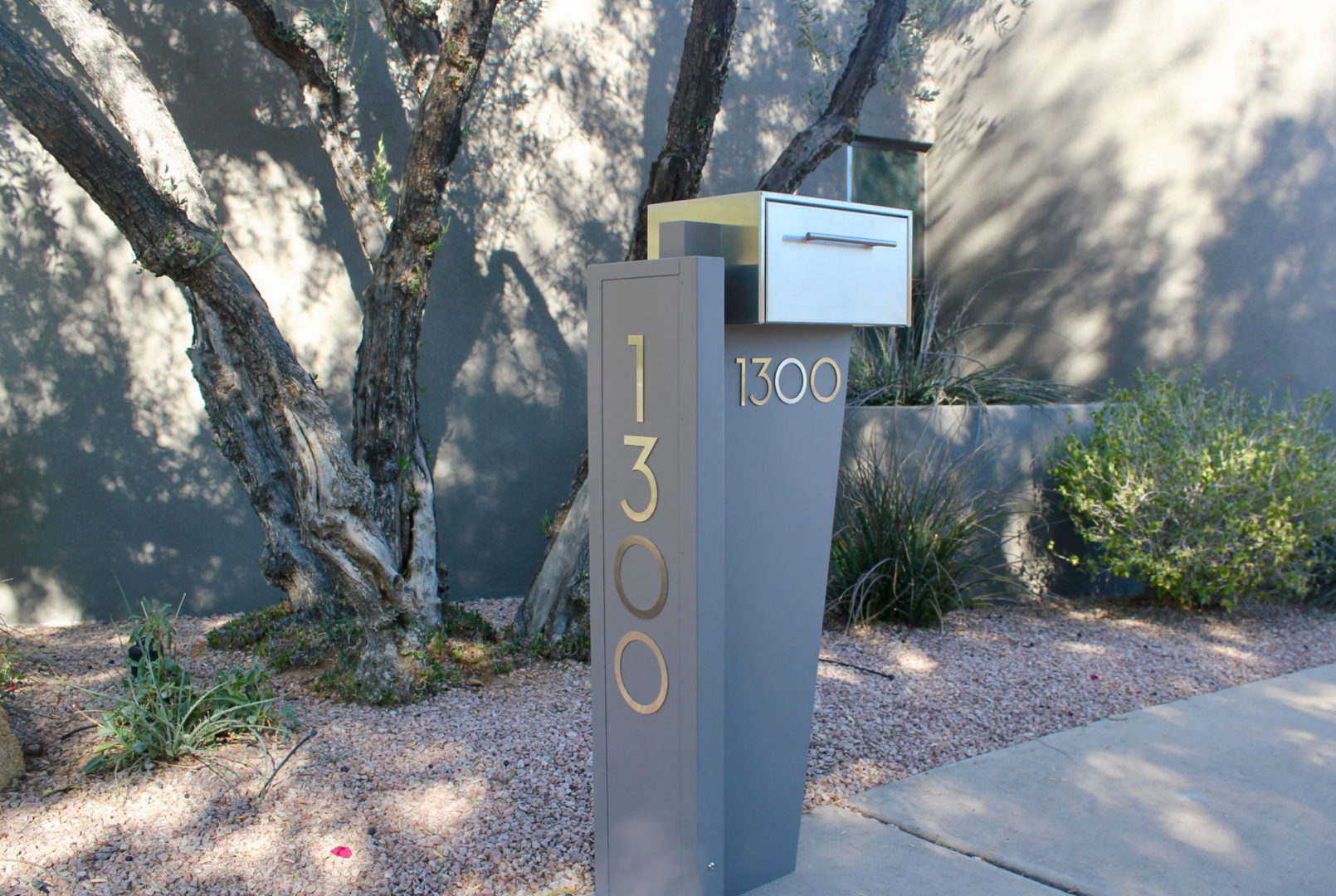 Tall Bowman unit- modern curbside mailbox- gray front view