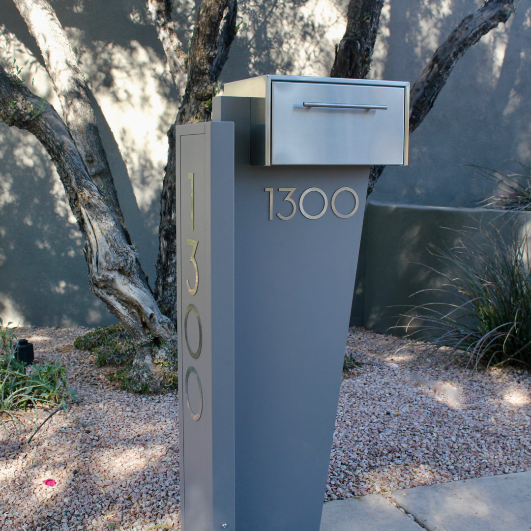 Tall Bowman unit- modern curbside mailbox- gray front