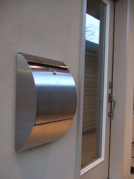 Carsten-Curved Front Stainless Steel Mailbox Front View