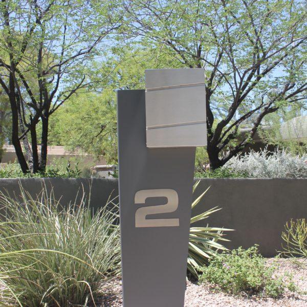 Hansen Unit- Gray Modern Curbside Mailbox- Front View