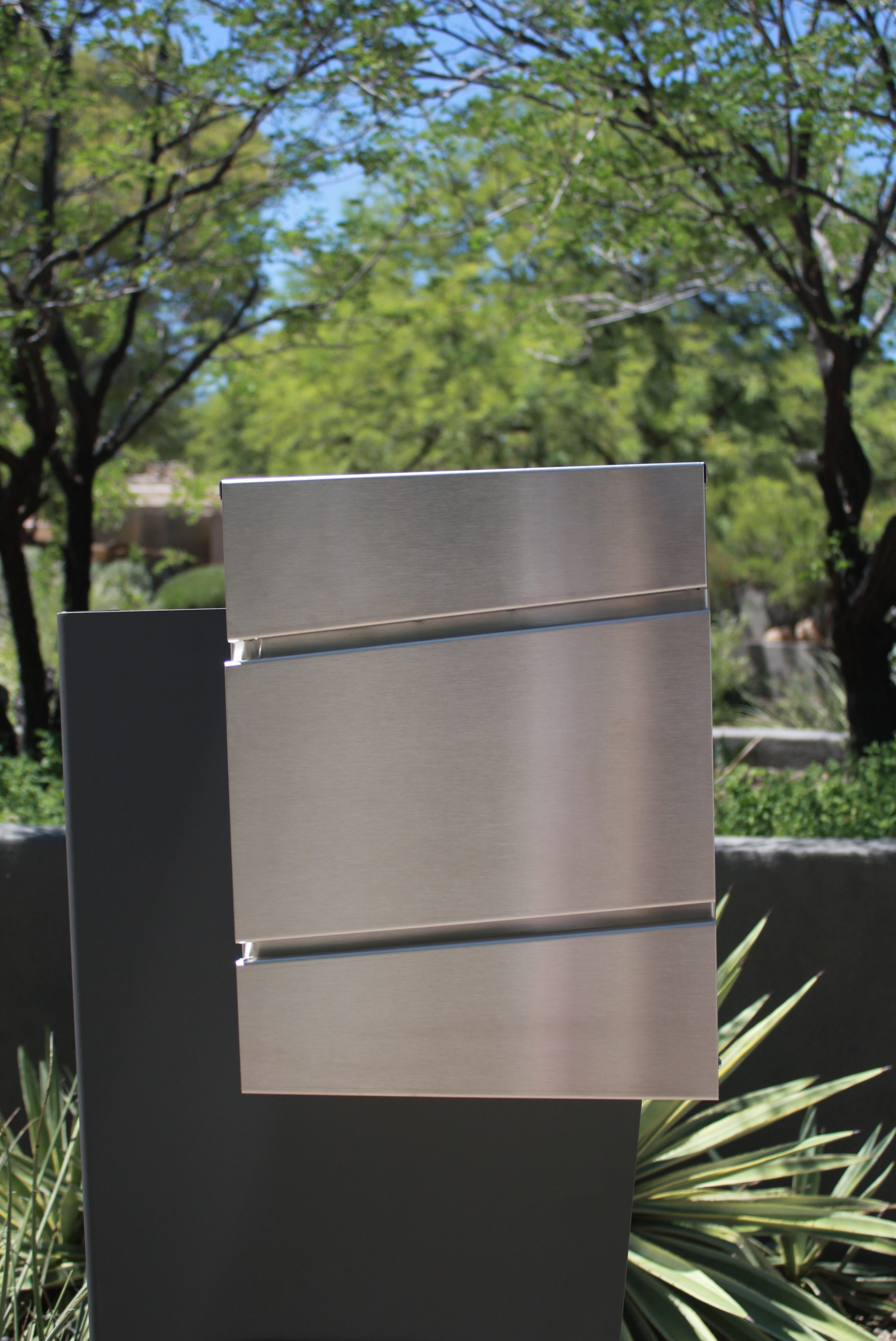 The Metro- Modern Rectangular Stainless Steel Mailbox Front View